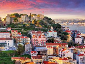 European houses on a hill