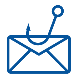 Phishing logo, envelope with a fish hook