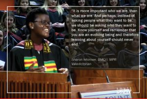 Picture of a Black female MSVU graduate giving her Valedictory Speech