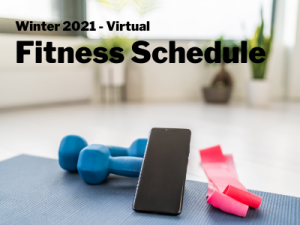 a picture of a smart phone, weights, and a resistance band advertising virtual fitness