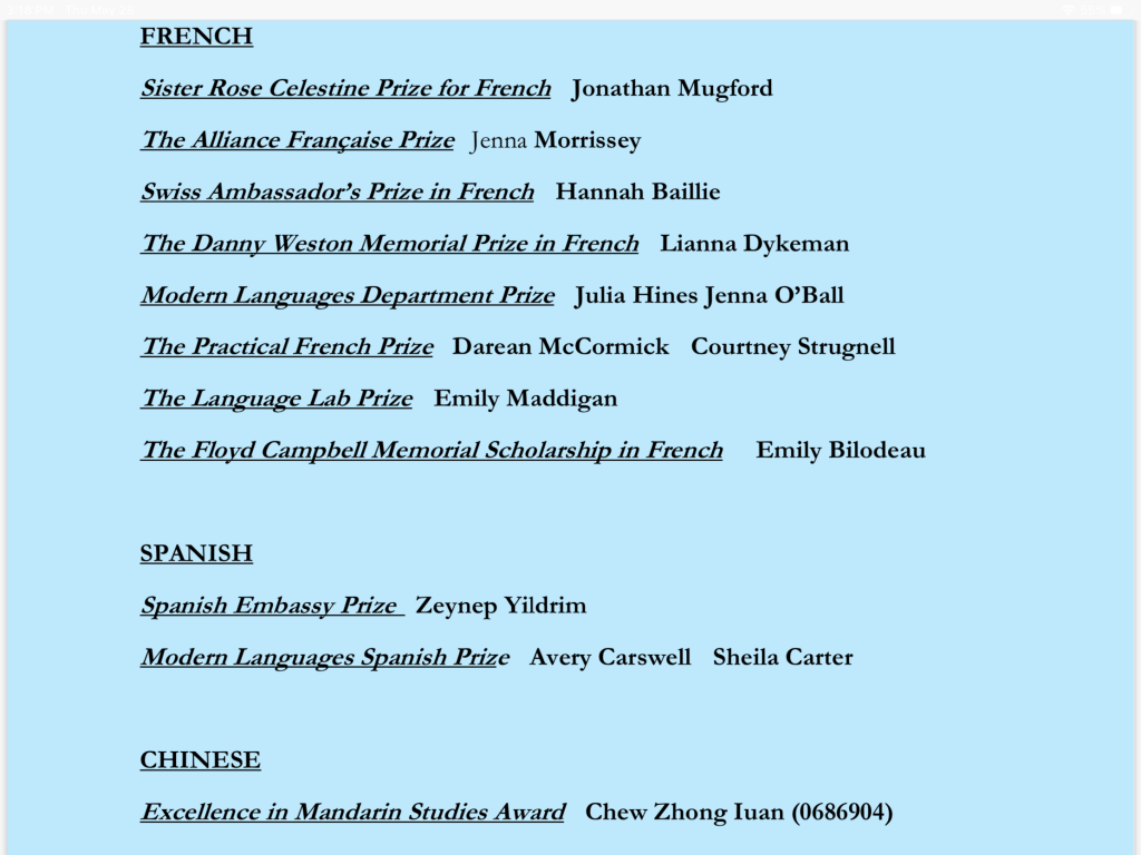 List of 2019-2020 Modern Languages Department award winners.