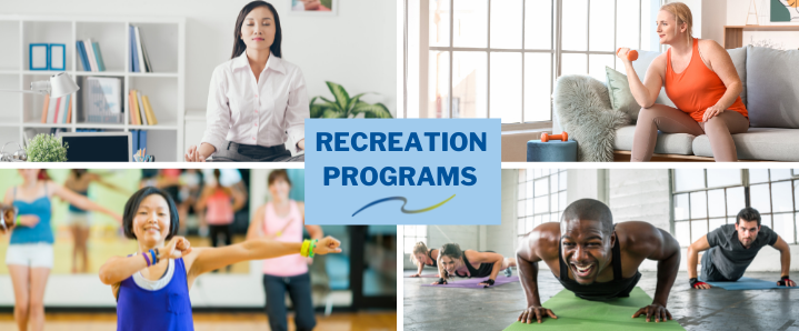 A variety of photos showing people in recreation programs