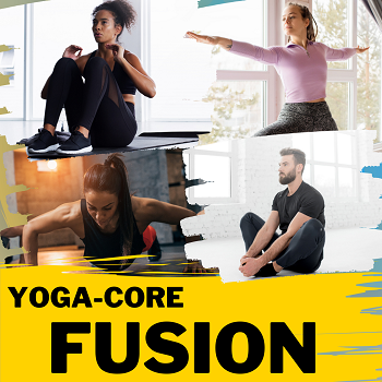four people doing a variety of yoga and core exercises