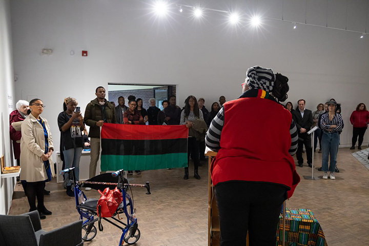 African Heritage Month Pan-African flag displayed in MSVU Art Gallery