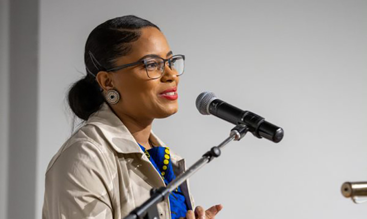 Jayde Tynes speaking at African Heritage Month kick-off ceremony