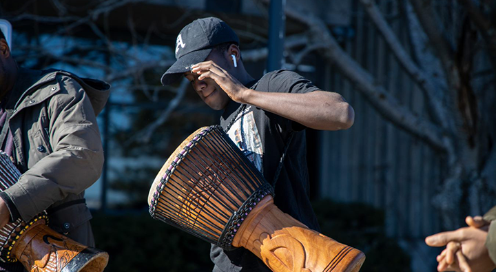 African drumming outside of Seton Academic Centre