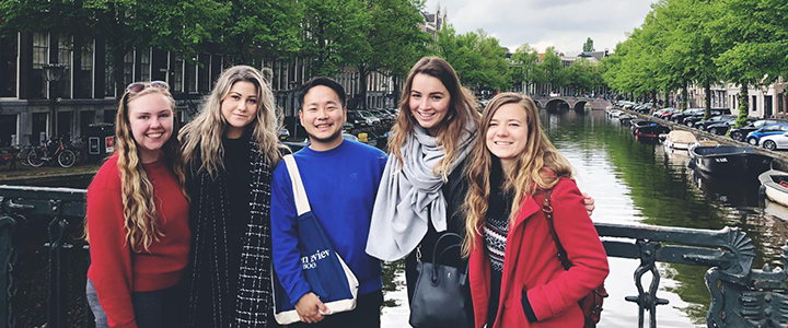 Alison Bryan in a group photo while on a student exchange program in france