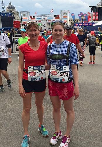 Annie McKitirick and her Mom post marathon