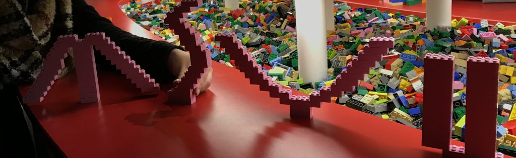 MSVU spelled out in lego from Discovery Centre