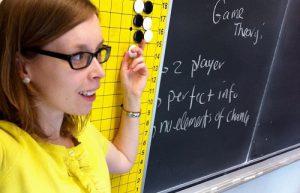 Dr Danielle Cox in front of a blackboard