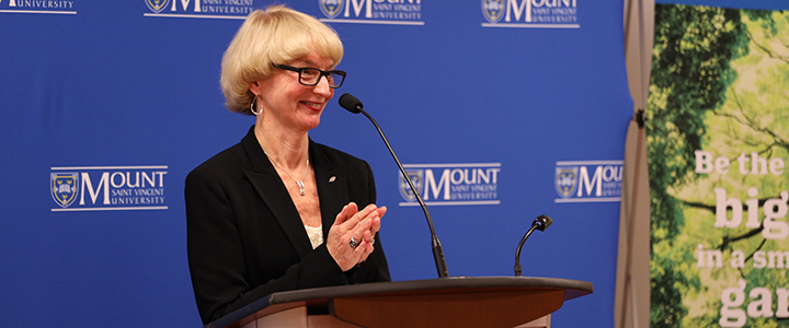 Dr Mary Bluechardt at the Medavie announcement at MSVU