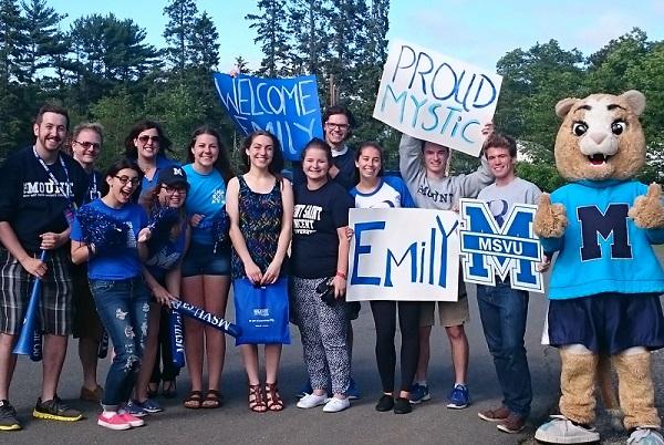 Emily Albert with her Mount welcoming crew