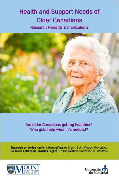 Front page. Health and support needs of older Canadians