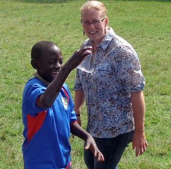Harriet Johnson and student in Kenya