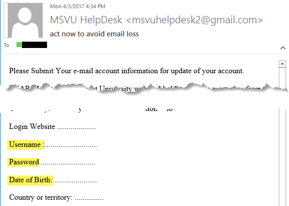 Phishing Example - Request for Password