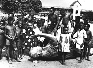 African Children posing for a greyscale photo