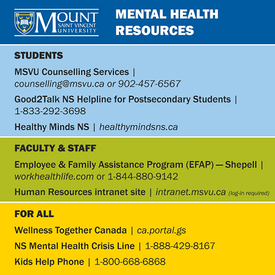 MSVU Mental Health Resources as of May, 2020