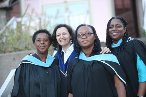 Susie with three MEd graduates, Adassa Henry, Lurline Morgan and Kaysha Jonson (2009)