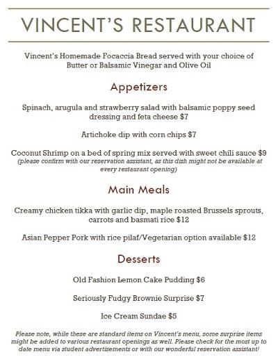 Vincent's menu