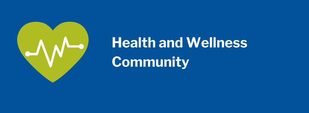 Health and Wellness Community. Image of green heart with health line across.