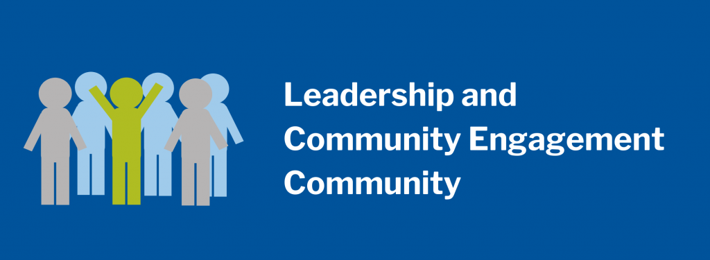 Leadership and Community Engagement Community. Image of group of stick figures with one individual raising their arms.