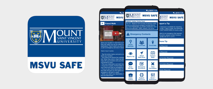 MSVU SAFE app icon with mobile display