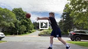 woman passing basketball