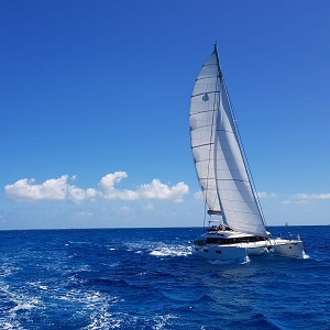 A sailing boat on the open sea