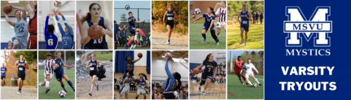 varsity sports picture including athletes from soccer, basketball, volleyball and cross country