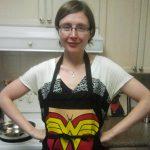 Dr. Shannan Grant in a Wonder Woman apron