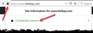 The Bay Website SSL Lock