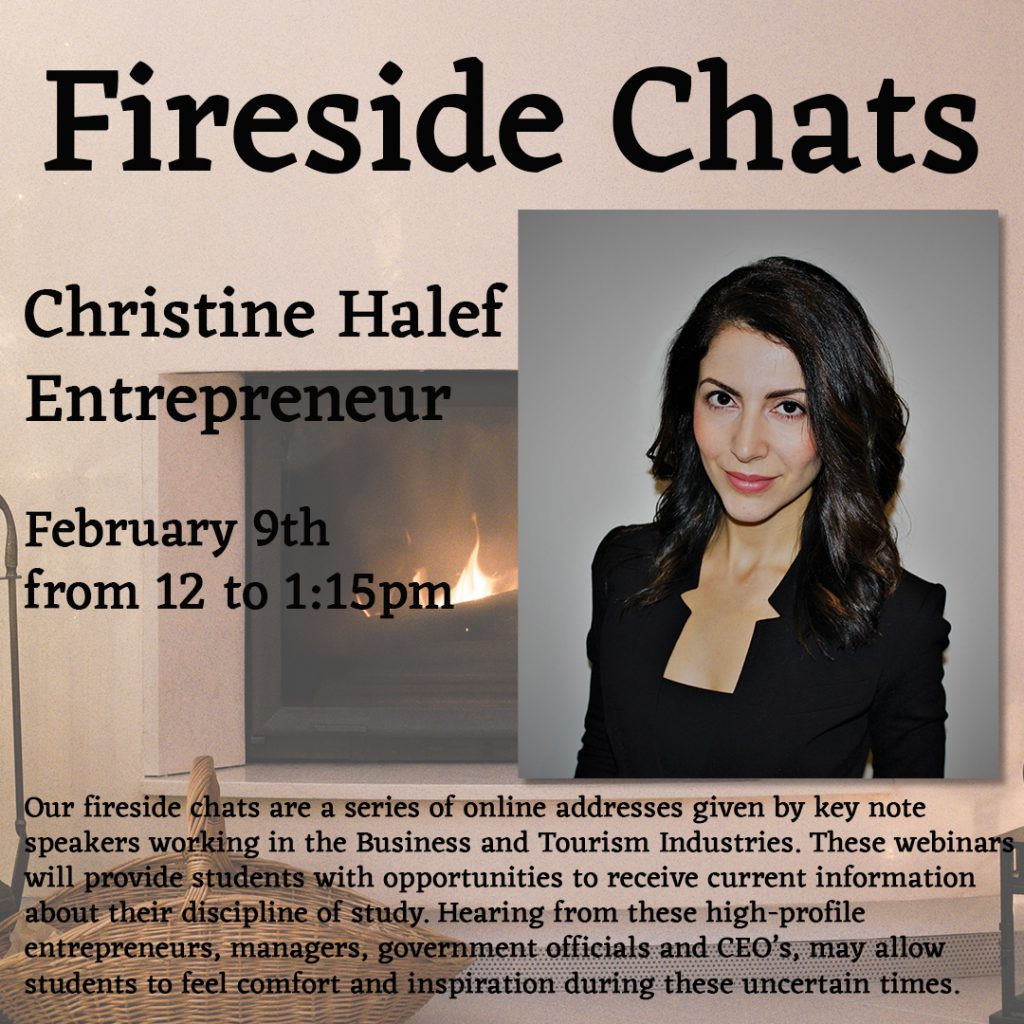 Fireside chat poster with Christine Halef