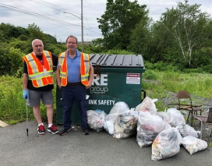 Two MSVU employees at the MSVU Earth Day 2019 Clean Up event
