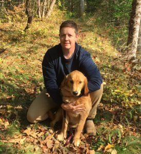 Dr Sarah Reddington with their dog, Sadie
