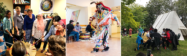 Collage: drumming, Indigenous dancing, Treaty Day celebration