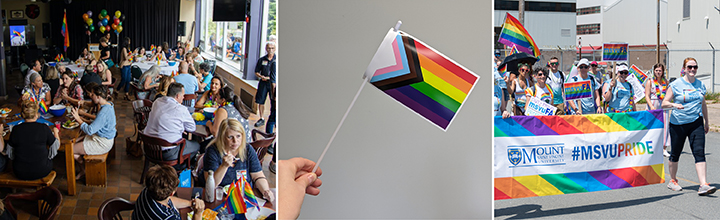 Various images of Pride advocacy at MSVU