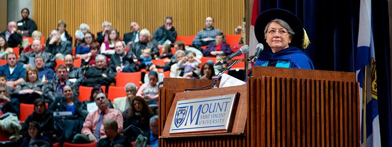 Mary Simon at podium