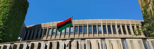 The Pan-African flag displayed outside of Evaristus