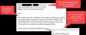 UNICEF Internship Job Scam Email