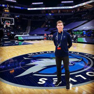 Luke Corey with the Minnesota Timberwolves
